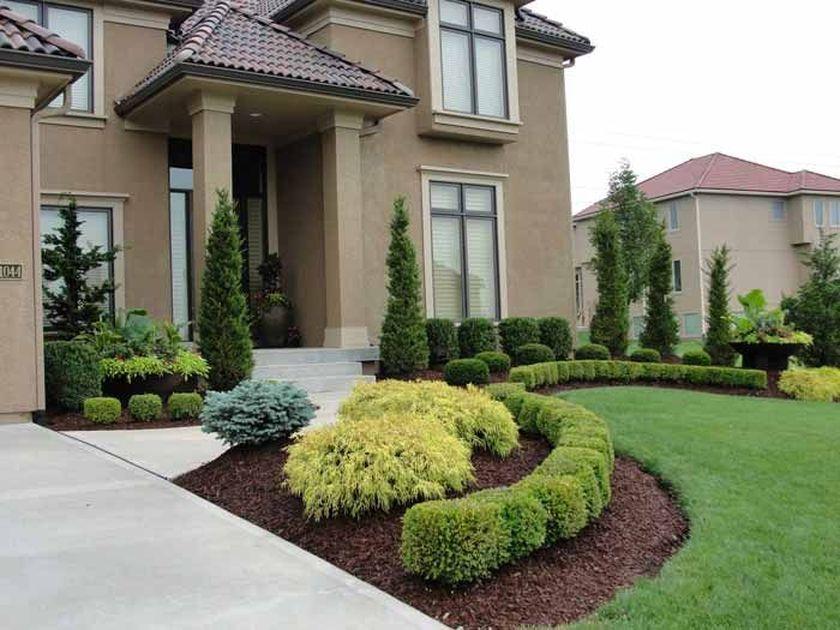 Front Yard Evergreen Landscape Garden 6 Jpg 840 630