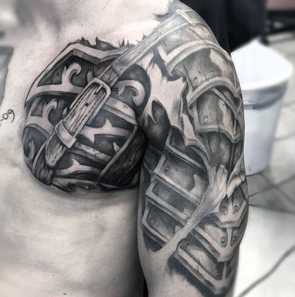 714f196f1 70 Cool Chest Tattoos For Men - Masculine Ink Design Ideas | armor ...