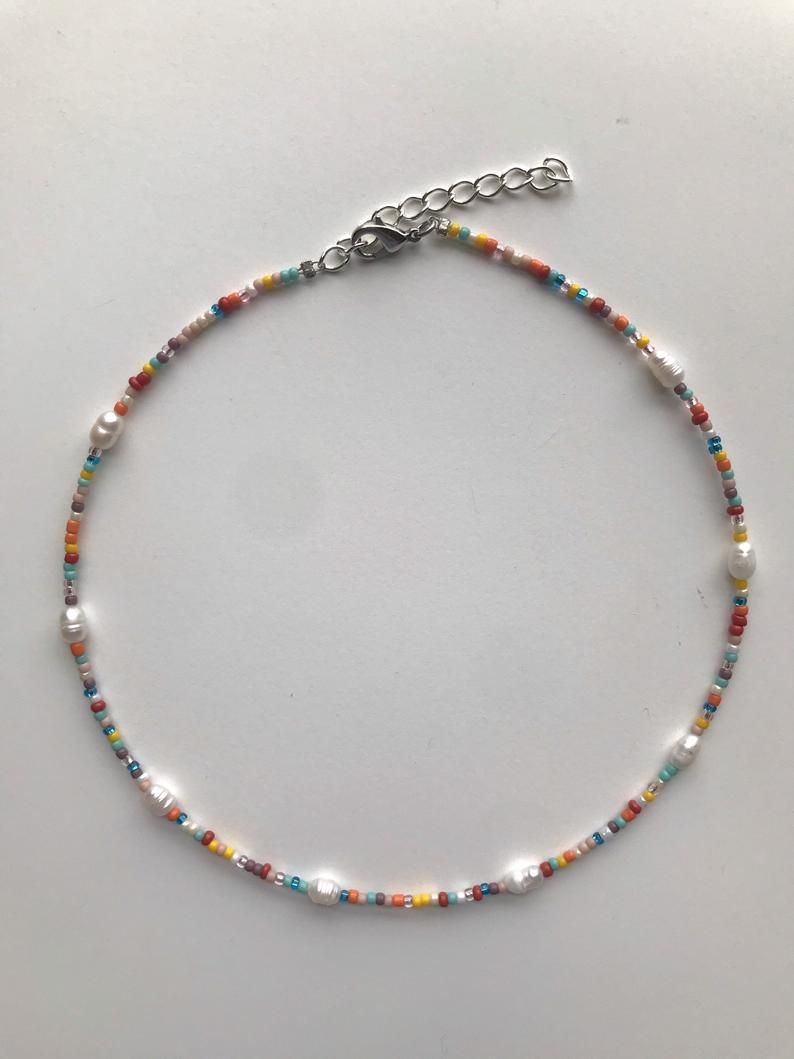 Photo of Multicolored Glass Seed & Pearl Bead 13 Inch Choker Stainless Steel 2 inch Extender