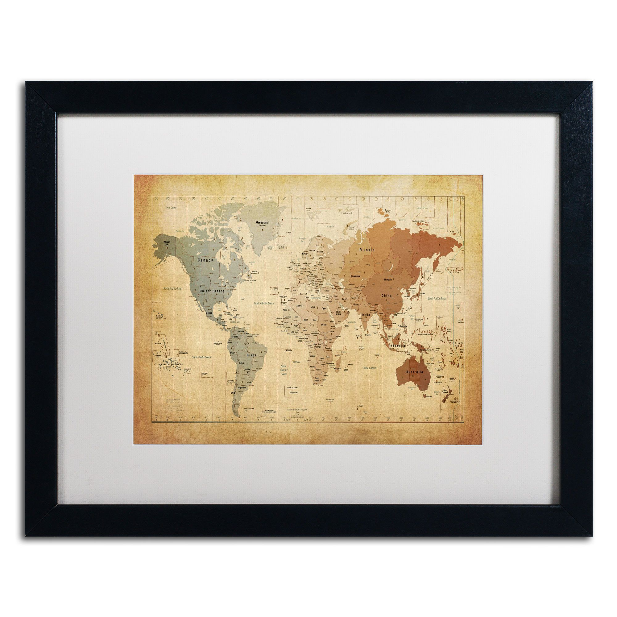 Time Zones Map of the World\' by Michael Tompsett Framed Graphic Art ...
