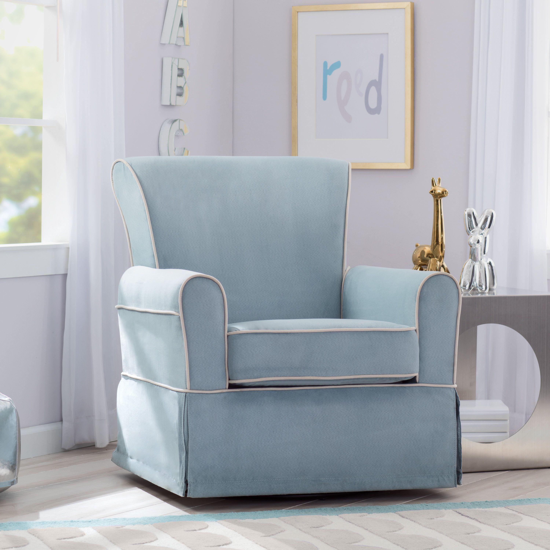 Delta Children Benbridge Nursery Glider Swivel Rocker Chair Frozen Blue With Cream Welt