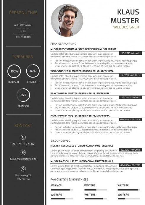 Lebenslauf Muster Vorlage … | CV | Pinterest | Lebenslauf muster