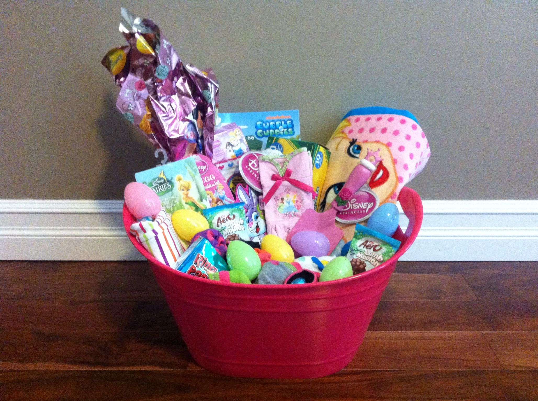 Easter basket for my 4 year old daughter basket includes easter basket for my 4 year old daughter basket includes tinkerbell beach towel bubble guppies painting book crayola paints giant disney princess egg negle