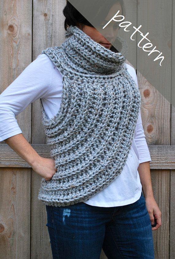 Crochet patrones - cruz cuerpo capucha bufanda - Cazadora chaleco ...