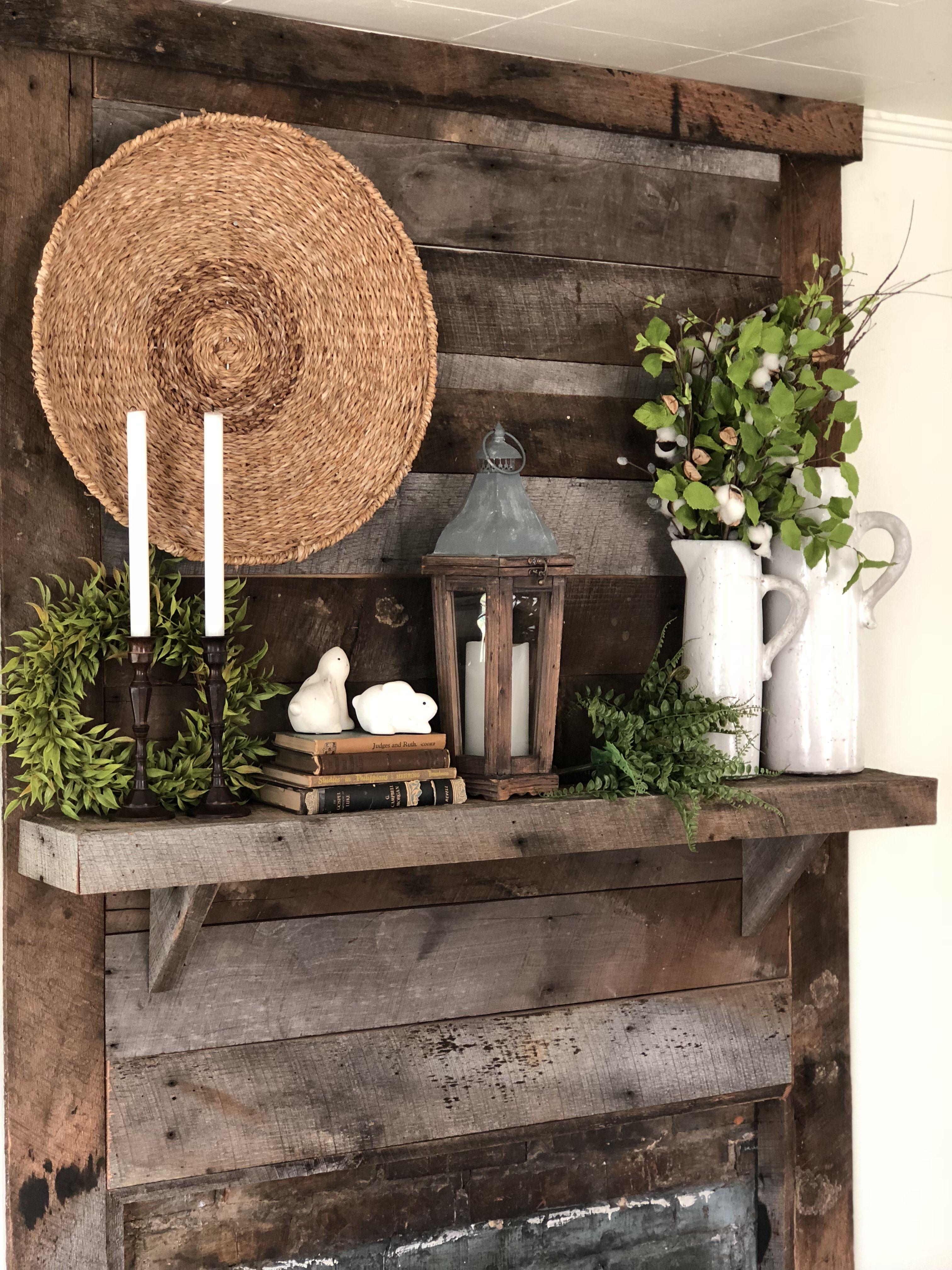 Rustic farmhouse mantel spring mantel decor barn wood fireplace