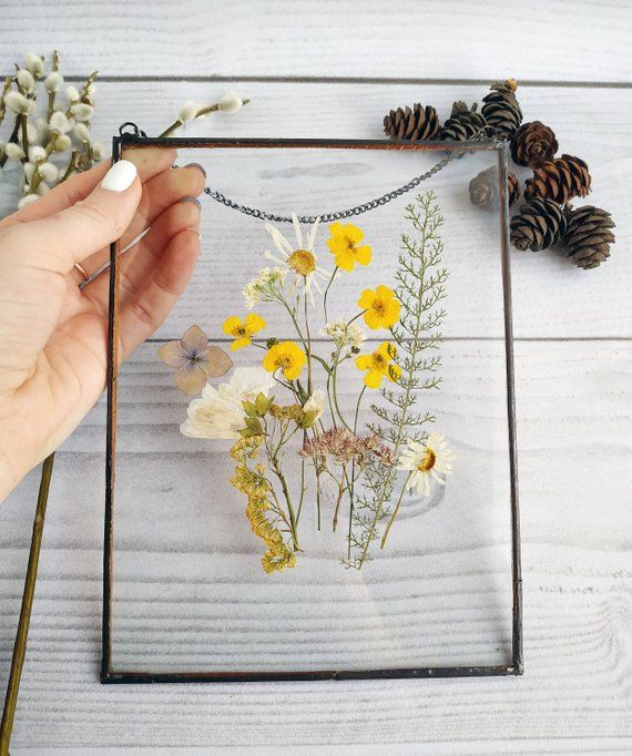 Dekor Herbarium Rahmen Blumenkunst Mutter Geschenk von Tochter für Blumenliebhaber – gepresste Blumenrahmen – Wanddekoration