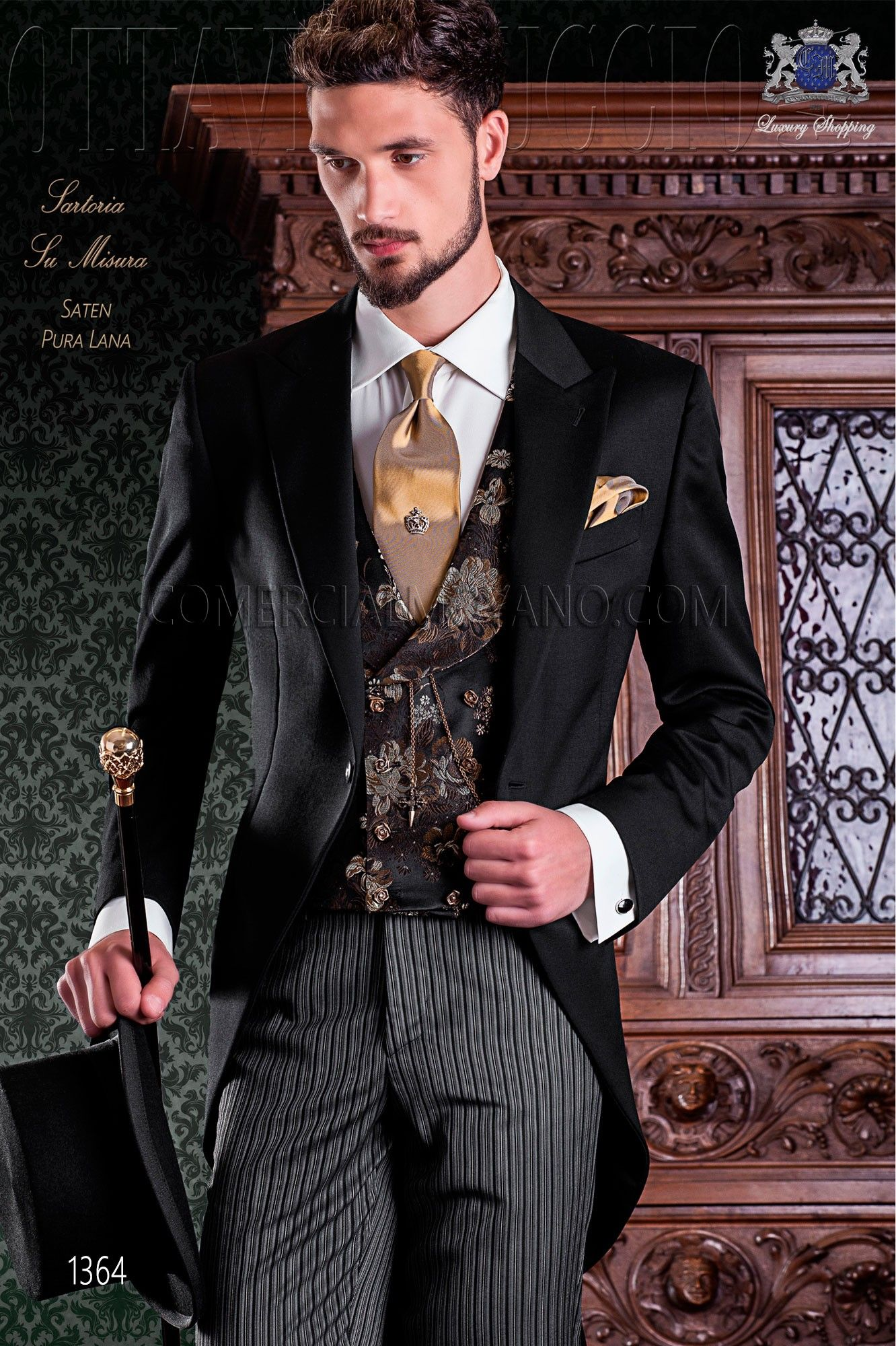 2 De Piezas Corte Elegante Chaqué Italiana Negro Con Sastrería ARq6Ovfw