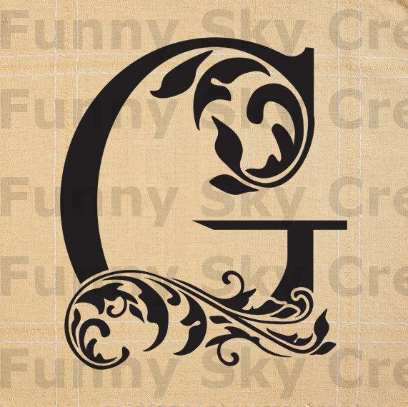 Alphabet Letter G Initial Print Flower Swirl - Burlap Digital ...
