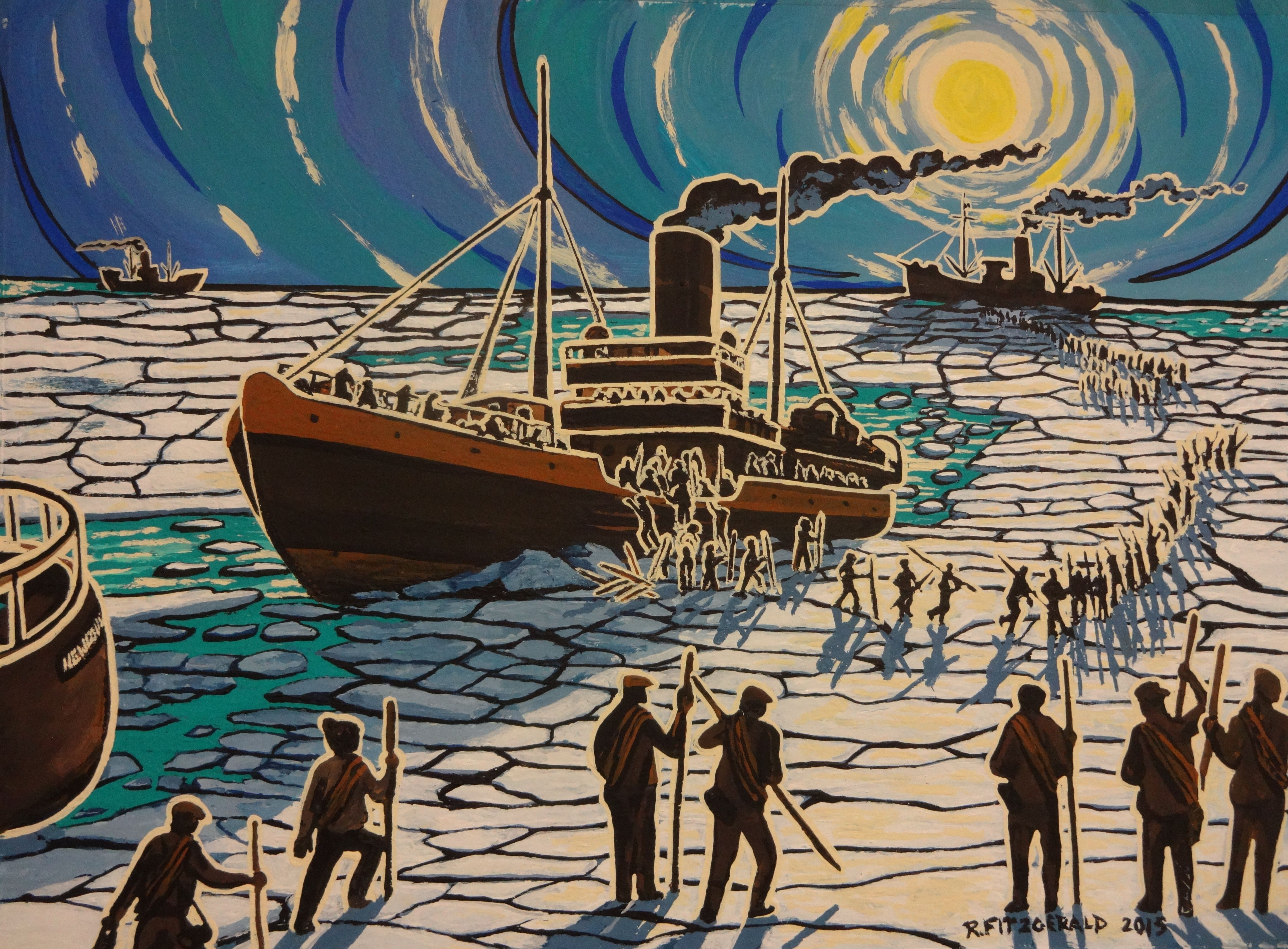 Disembarking Acrylic Painting By Reilly Fitzgerald From Newfoundland Sealing Disaster Collection