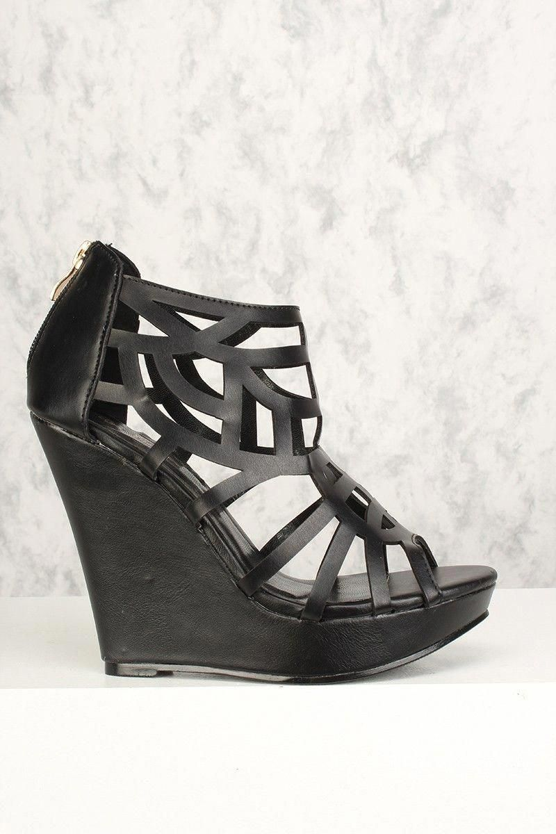 Buy sexy black perforated open toe wedges faux leather with discount