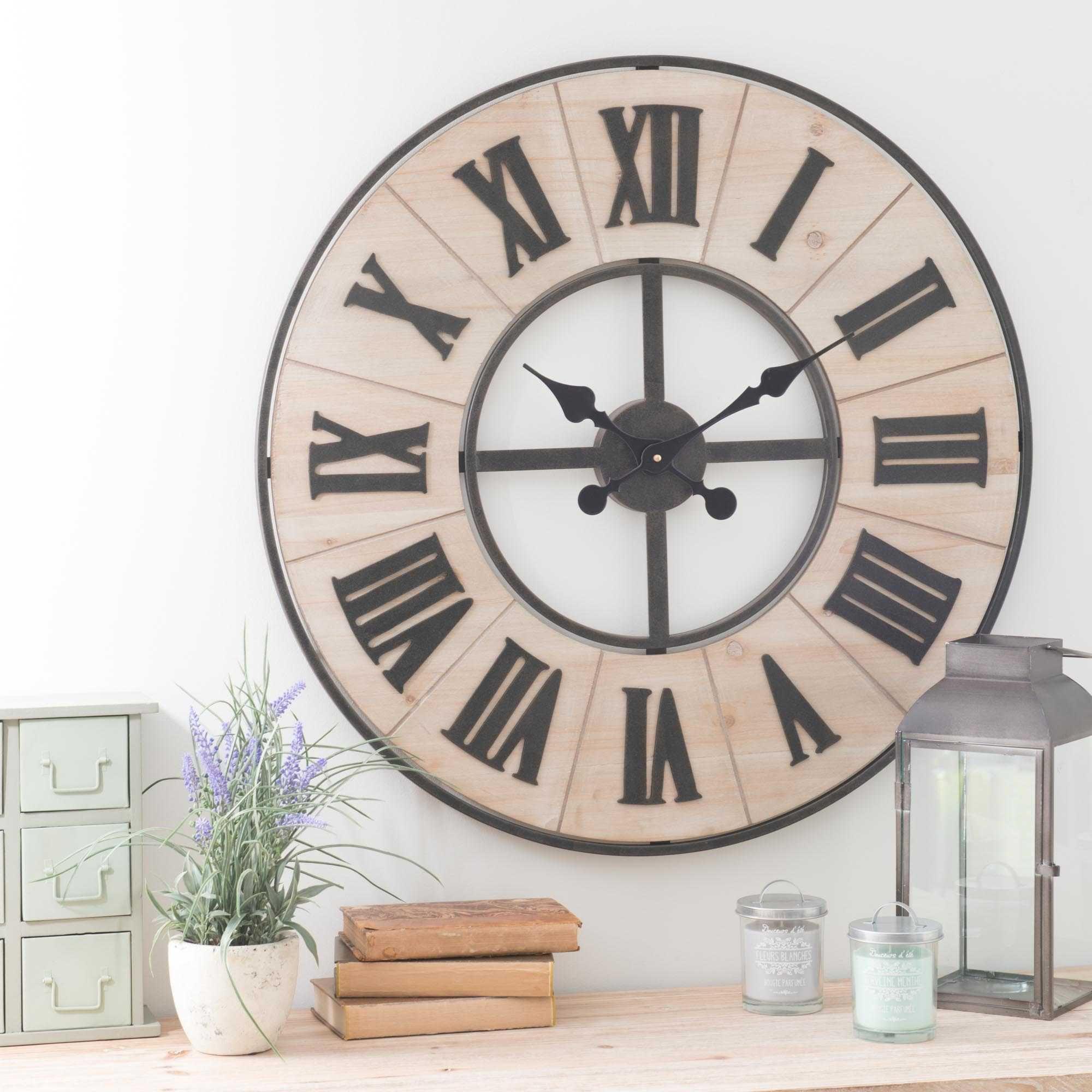 Horloge maison du monde horloge en mtal et bois d cm for Horloge parlante sydney