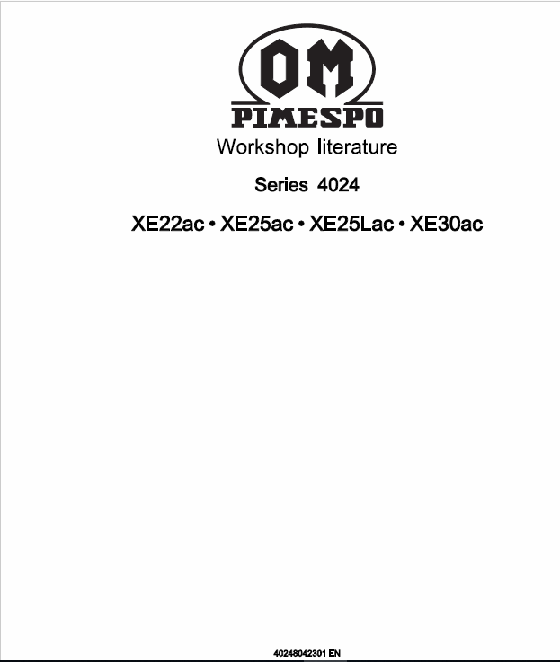 OM Pimespo XE22ac, XE25ac, XE25Lac, XE30ac Forklift