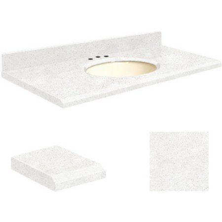 Transolid Quartz 25 inch x 22 inch Bathroom Vanity Top with Beveled Edge, 8 inch Contour and Biscuit Bowl, Available in Various Colors, Beige