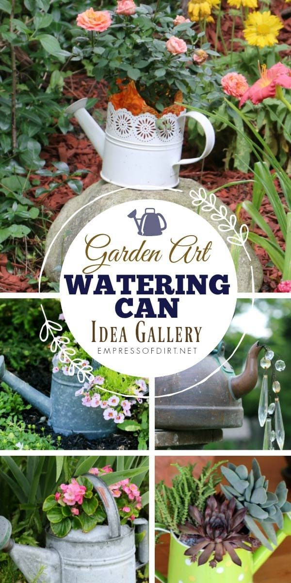 Watering Can Garden Art Ideas is part of Cottage garden Art - Watering can garden art ideas for your garden including fountains, tipsy pots, planters, and faux spilling water