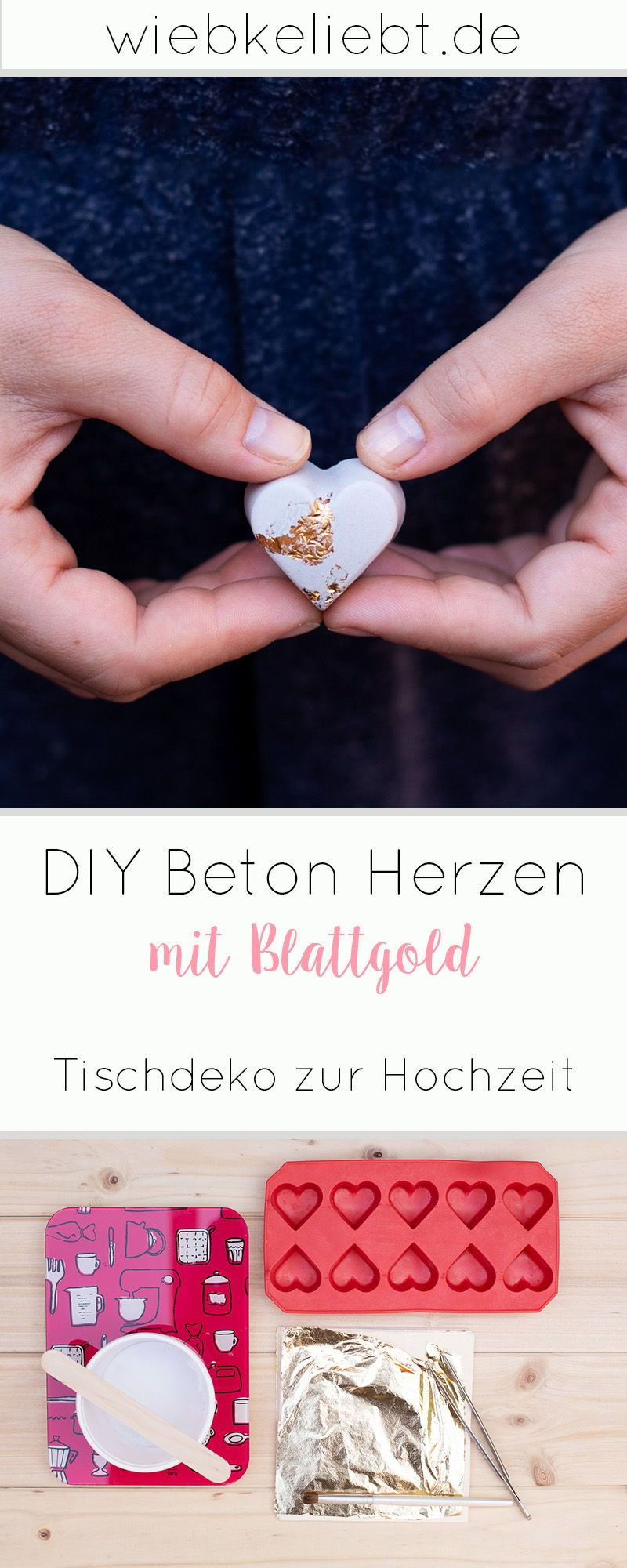 Corazones de bricolaje de hormigón con pan de oro – decoración de mesa para bodas Blog de bricolaje | Instrucciones de bricolaje para hacerlo usted mismo Wiebkeliebt