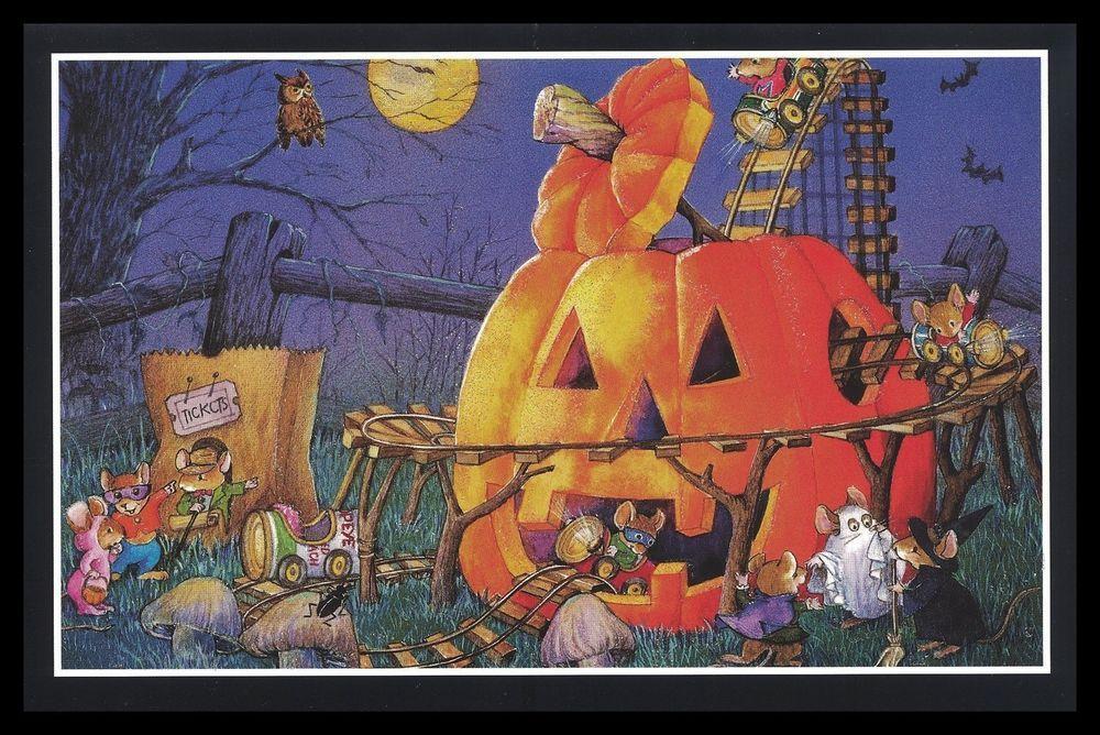 592-GC BAT DRESSED MICE MOUSE OWL Unused Halloween Glitter Greeting Card