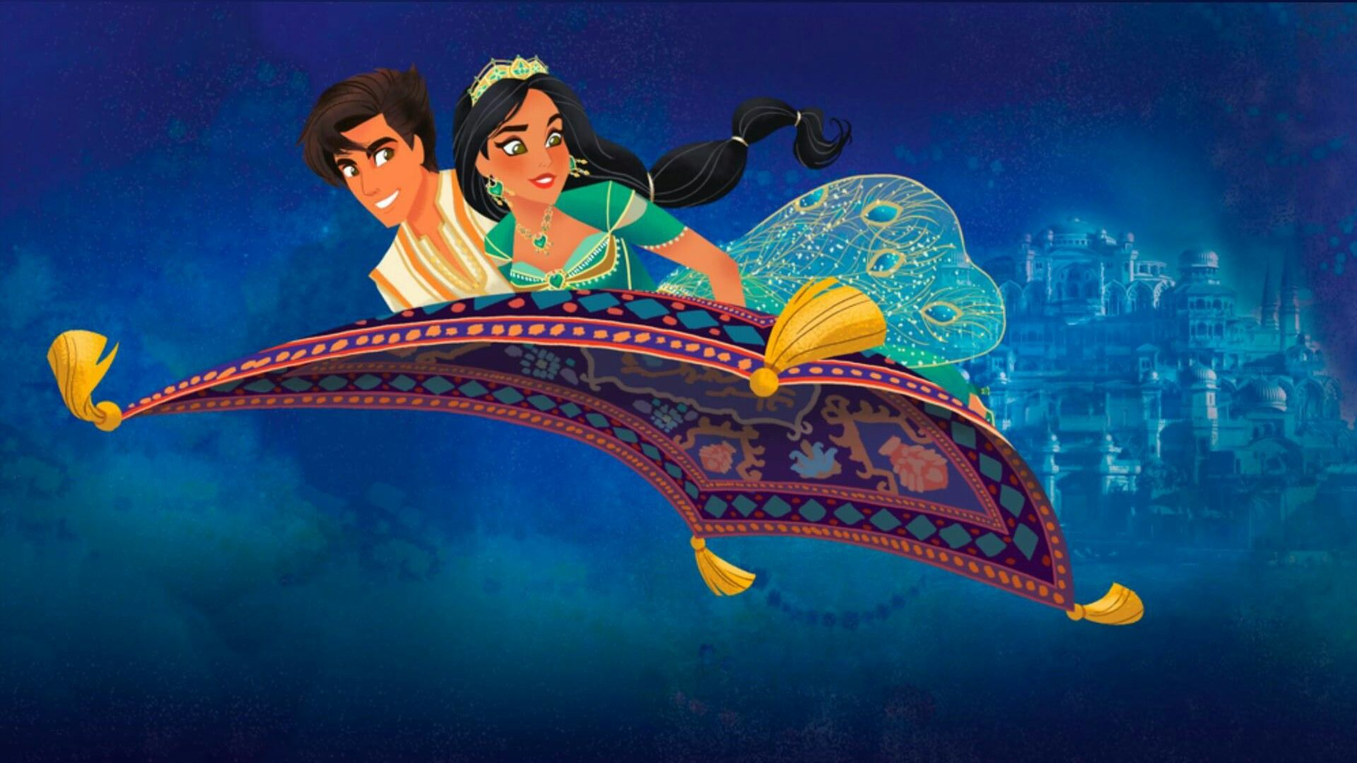 Princess Jasmine and Aladdin on the Magic Carpet ride from
