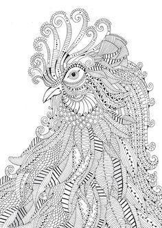 Rooster Abstract Doodle Zentangle ZenDoodle Paisley Coloring pages colouring adult detailed advanced printable Kleuren voor volwassenen coloriage pour adulte anti-stress kleurplaat voor volwassenen http://www.coloring-life.com/en/color-v3.php?lang=en&theme-id=304&theme=Animals&image=coloriage-adulte-coq-g-1.jpg