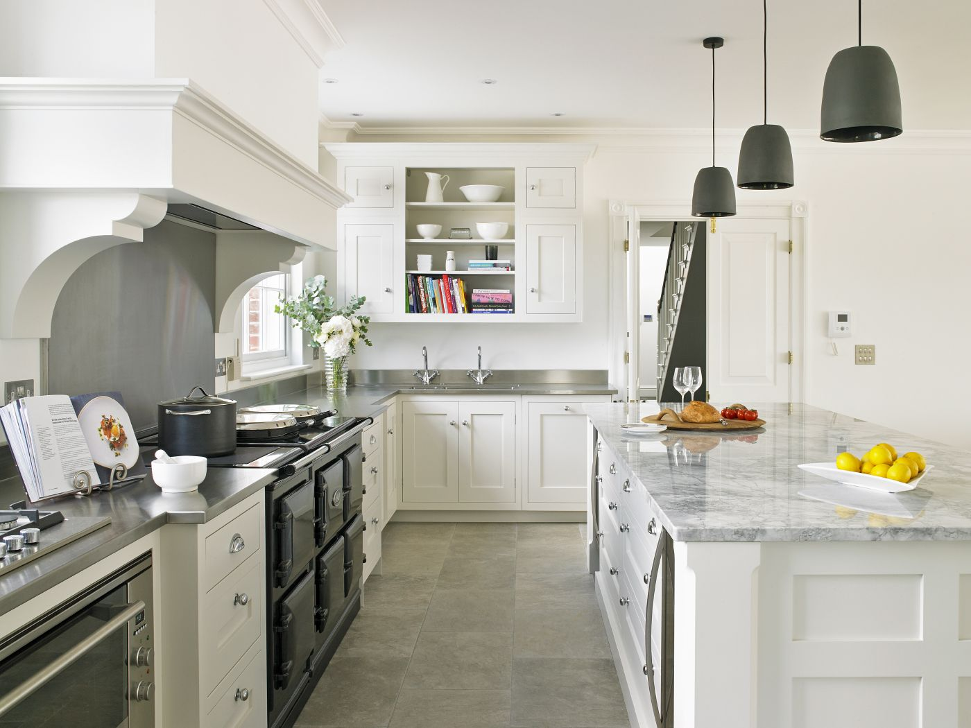 Traditional Style White Kitchen Design For A New Build With 5 Oven AGA In  Black, Chimney Extractor Canopy And Large Island With Twin Wine Coolers At  Either ...