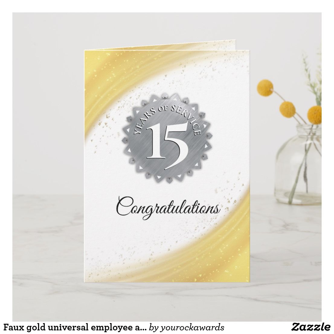 Faux gold universal employee anniversary card