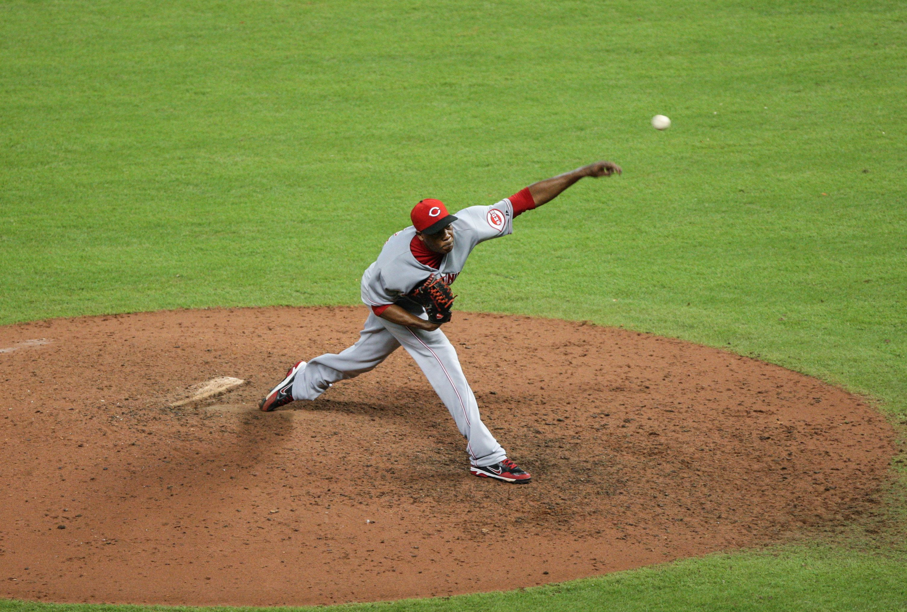 CrowdCam Hot Shot: Cincinnati Reds relief pitcher Aroldis Chapman pitches during the thirteenth inning against the Houston Astros at Minute Maid Park. Photo by Troy Taormina