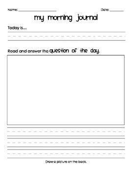 Morning Journal Templates Morning Journal Primary Writing