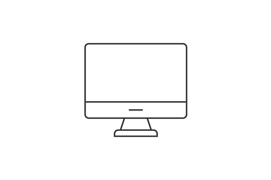 Computer Monitor Thin Line Icon Line Icon Computer Icon Icon
