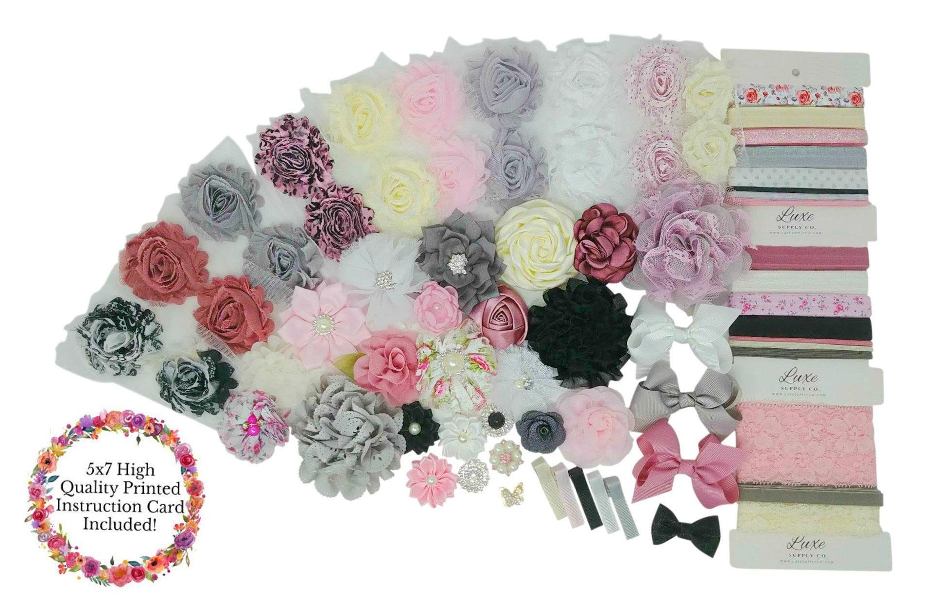 Baby Shower Activity Hair Bow Craft  Pink Grey Ivory DIY Headband Kit