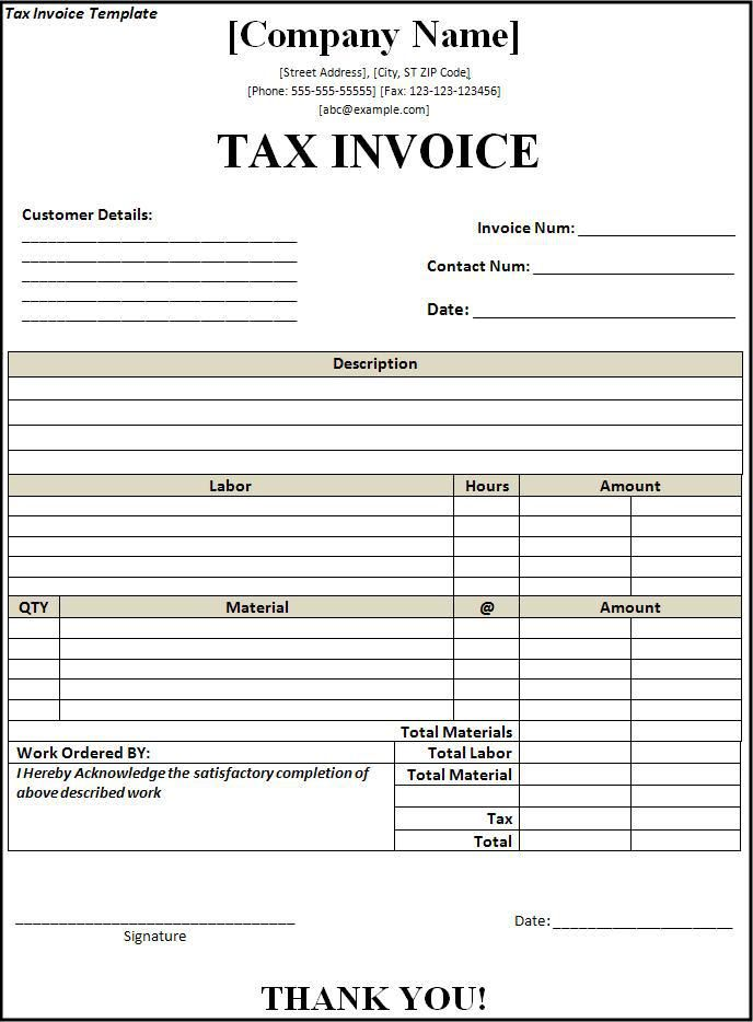 tax invoice template Wordstemplatesorg Pinterest Template - service invoice template excel
