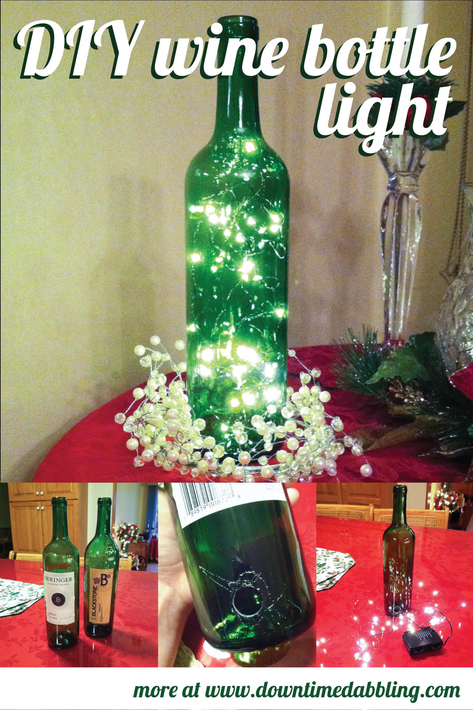 DIY wine bottle light - great christmas gift for the wine lover.