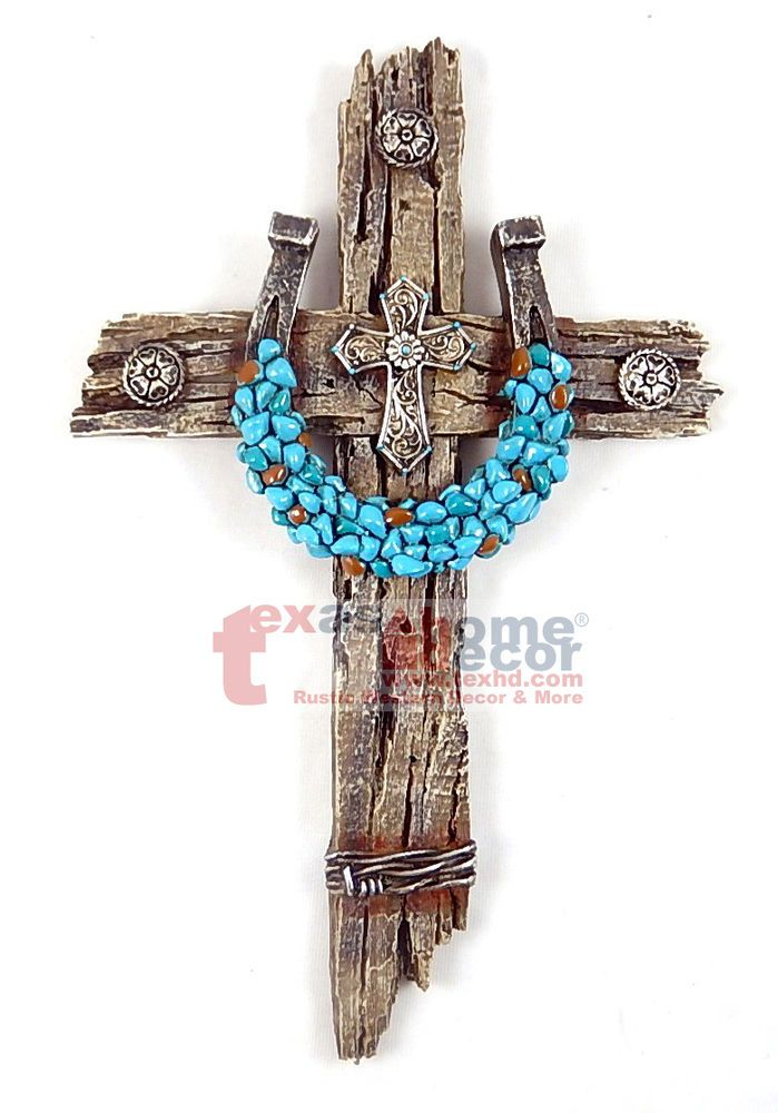 Decorative Crosses For Wall turquoise horseshoe concho decorative wall cross faux wood barbed