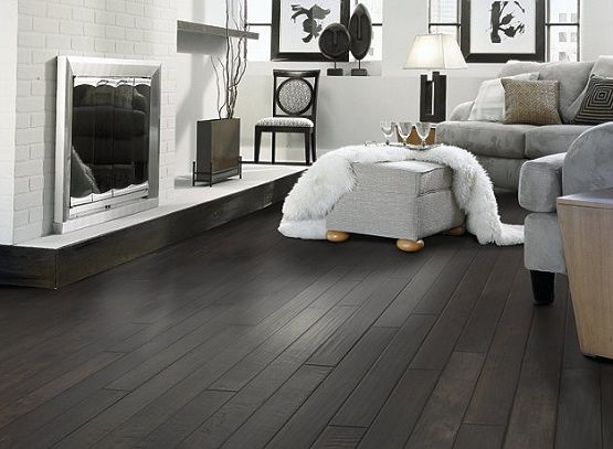 Black Wooden Flooring With Gray Sofa Flooring Ideas Floor Design Living Room Hardwood Floors Dark Wood Floors Living Room Dark Hardwood Floors Living Room