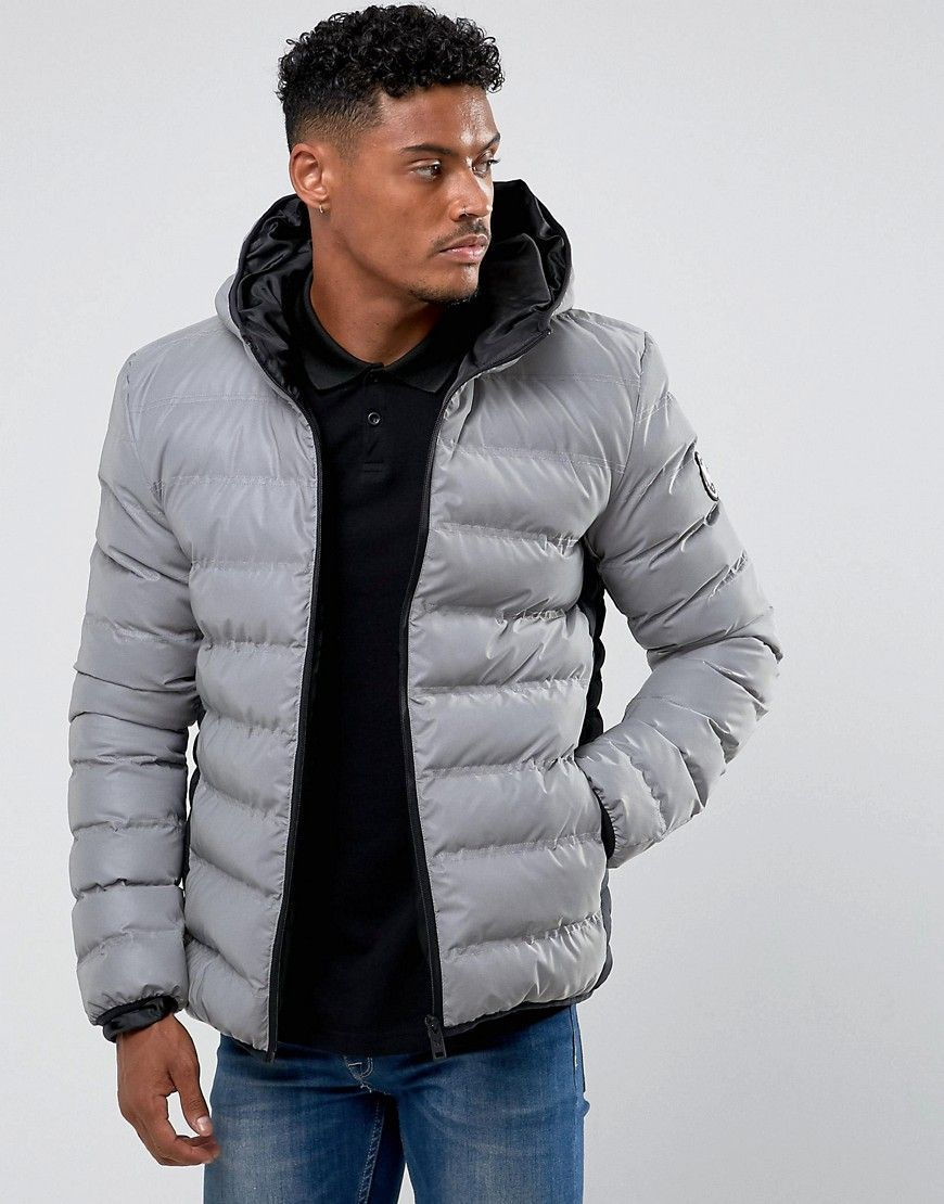 Good For Nothing Puffer Jacket In Reflective Gray Quilted Jacket Men Latest Fashion Clothes Fashion [ 1110 x 870 Pixel ]
