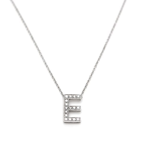 authentic tiffany co platinum diamond letter e pendant necklace features a