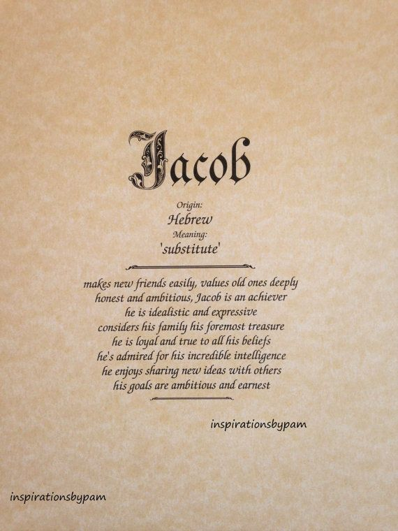 Jacob First Name Meaning Art Print Male Name Meaning Beige