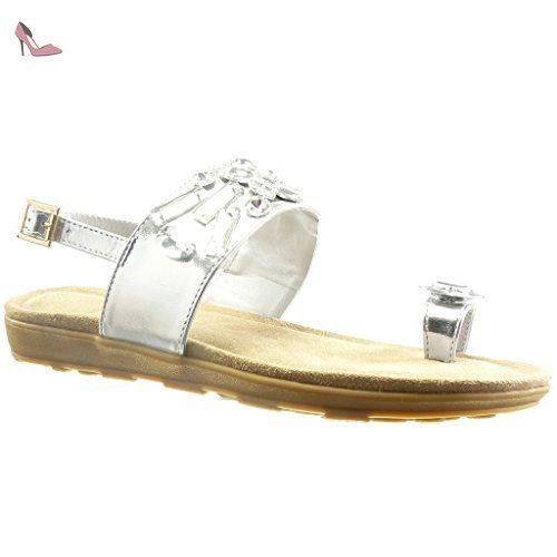 f0c0a958e45 Angkorly - Chaussure Mode Sandale ouverte femme bijoux lanière Talon  compensé 2 CM - Blanc -