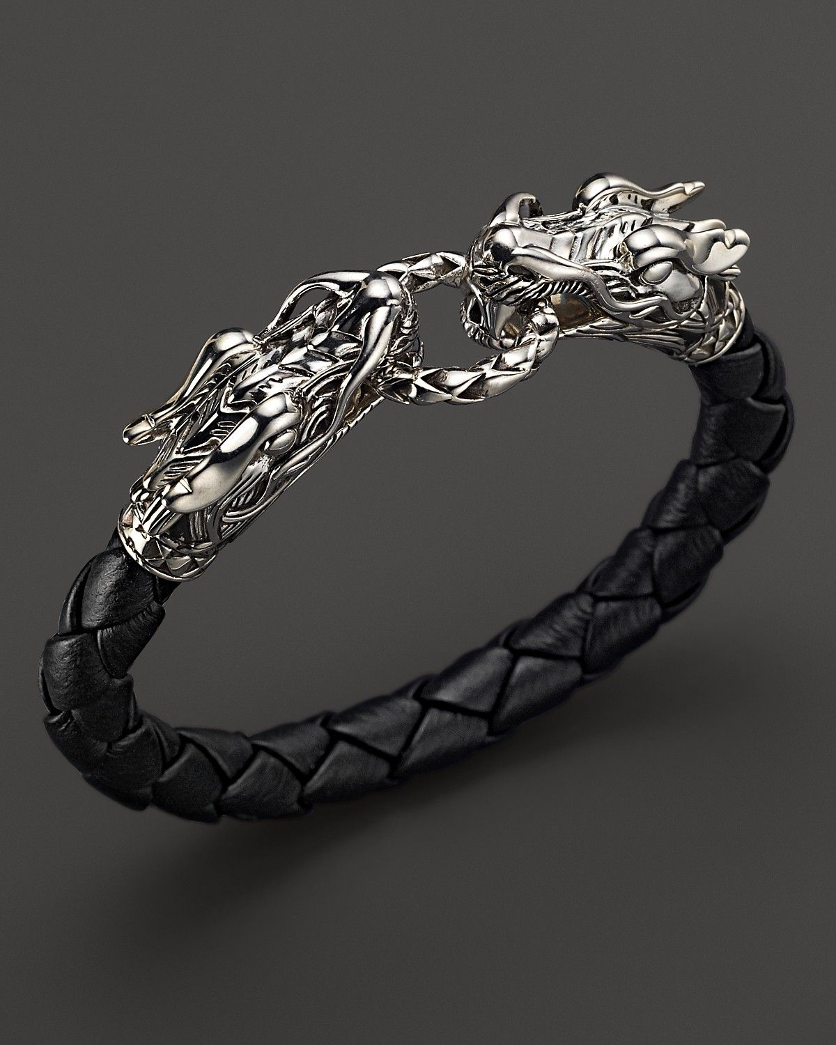 John Hardy Men S Naga Silver Black Woven Leather Dragon Bracelet