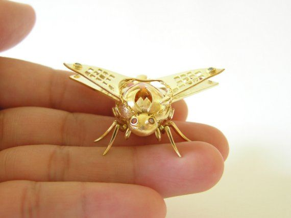 DIAMOND INSECTs GOLD MOTH PENDANT NECKLACE with par chinookhugs