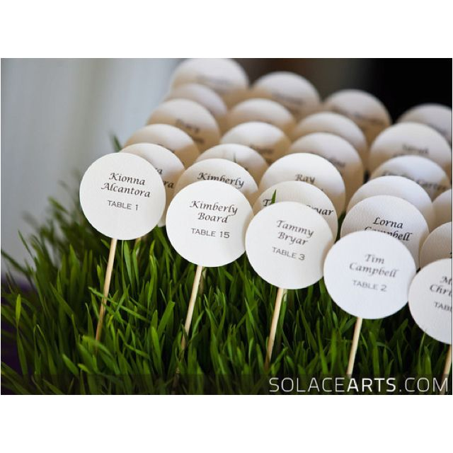 cute place card idea inspired by golf tees and balls