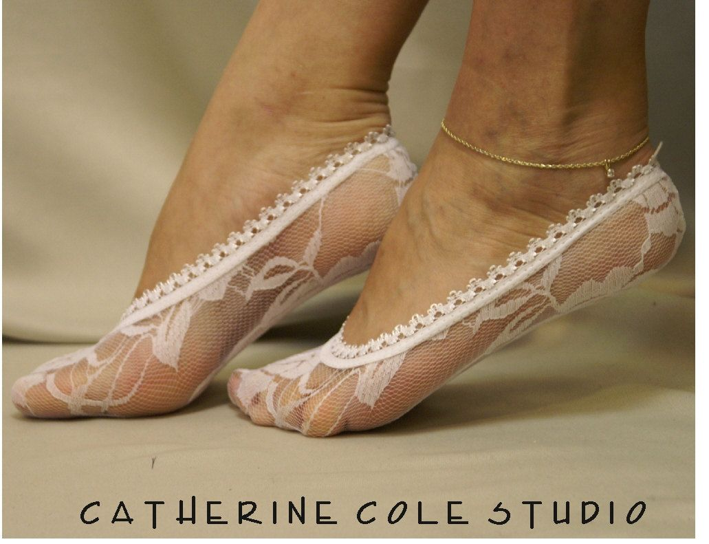 Lace socks for heels white lace footlet great for bridal wedding lace slipper lace peep socks womens Catherine Cole Studio. $5.90, via Etsy.