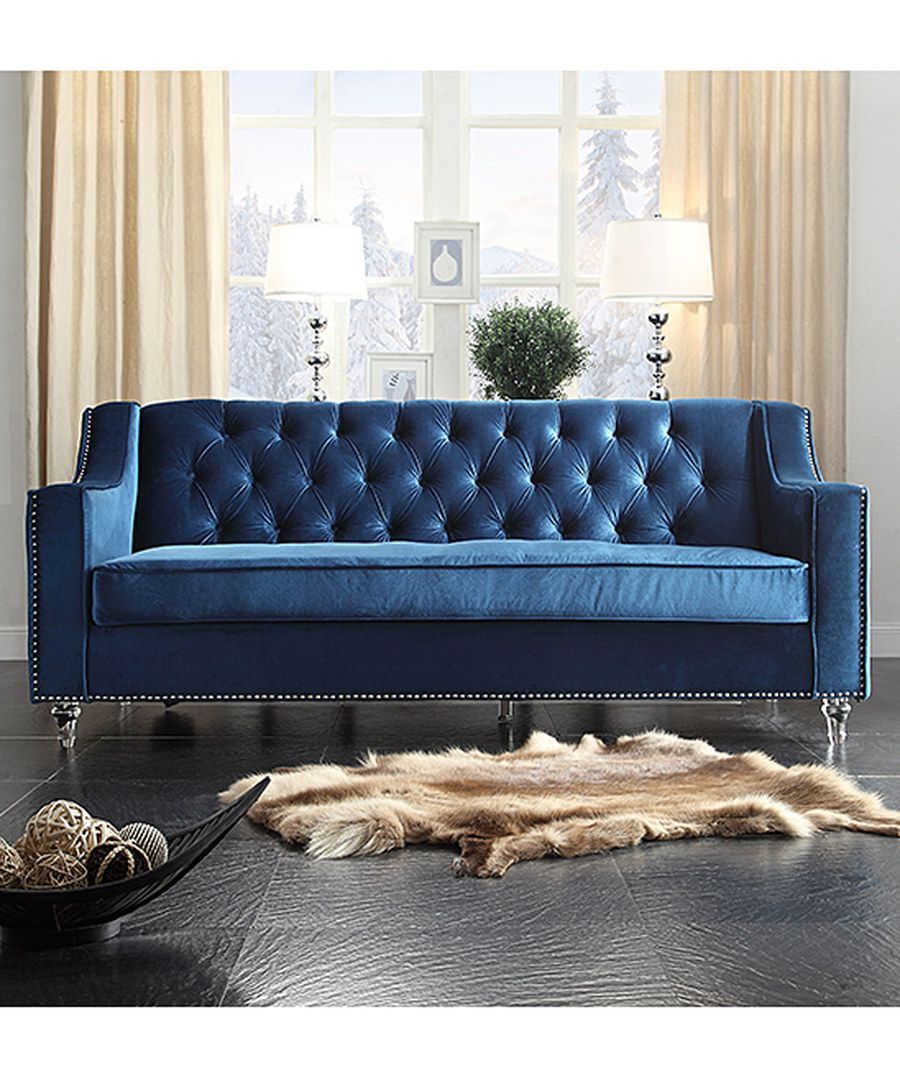 Look At This Blue Tufted Velvet Nailhead Trim Presley Sofa On #zulily Today!
