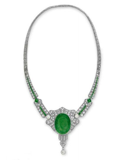 Art Deco Emerald and Diamond Necklace
