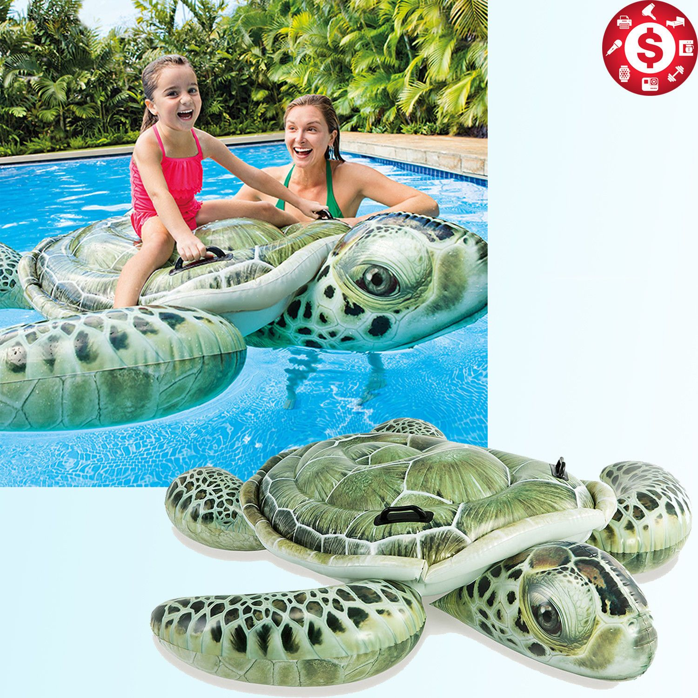 Inflatable Sea Turtle Ride On Float Realistic Swimming Pool ...
