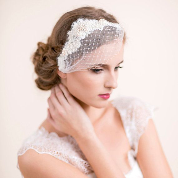 Sample Sale Bridal Hairpiece With Mini Veil Pearl And