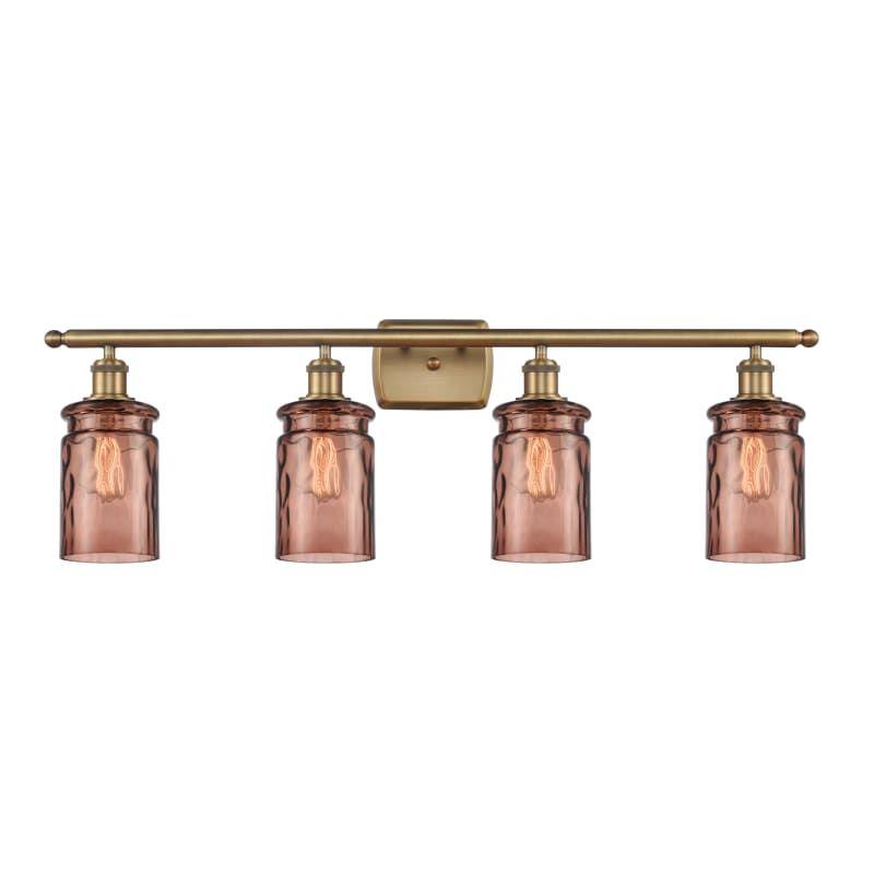 "Photo of Innovations Lighting 516-4W Candor Candor 4 Light 36 ""Wide Bathroom Vanity Light Brushed Brass / Toffee Water Glass Indoor Lighting Bathroom Lights"