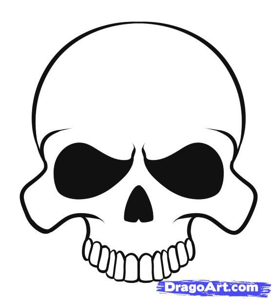 how to draw a skull easy way