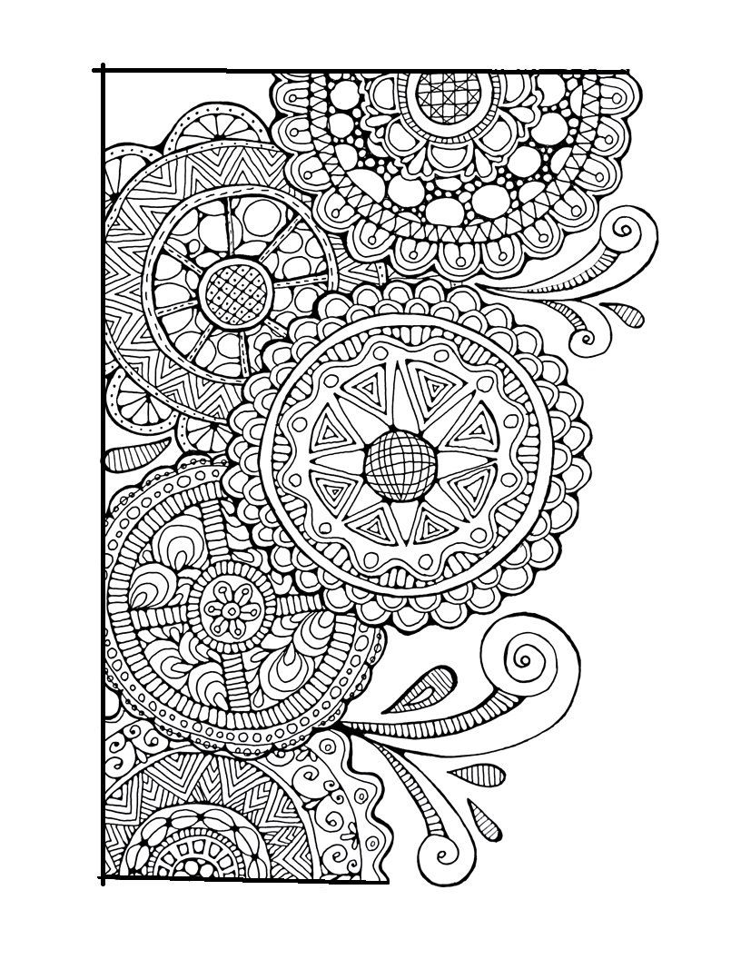Adult Colouring PageSwirls and Cirlces, Original Hand