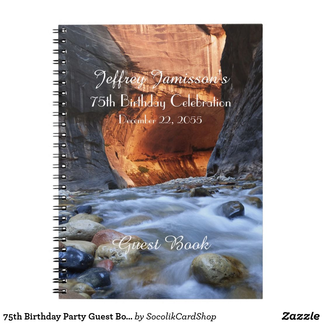 75th birthday party guest book zion narrows notebook