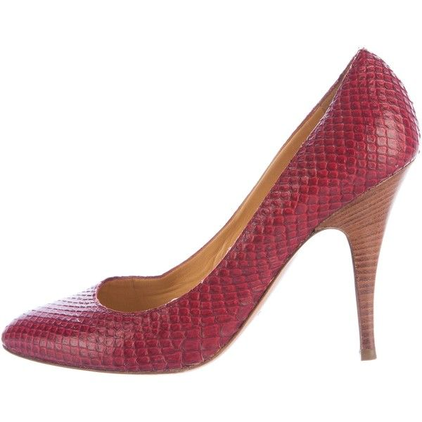 7ad339c56e97e Pre-owned Giuseppe Zanotti Snakeskin Pointed-Toe Pumps ($125) ❤ liked on  Polyvore featuring shoes, pumps, red, giuseppe zanotti pumps, snake skin  pumps, ...