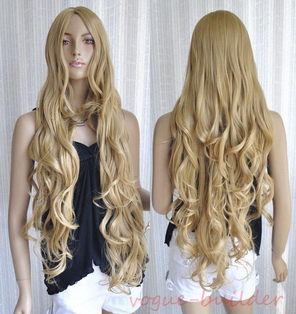 "35"" Long Golden Blonde Spiral Wavy Cosplay Hair Wig"